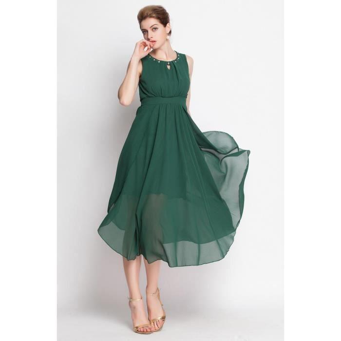 robe longue de soir e en mousseline de soie vert achat vente robe de c r monie robe longue. Black Bedroom Furniture Sets. Home Design Ideas