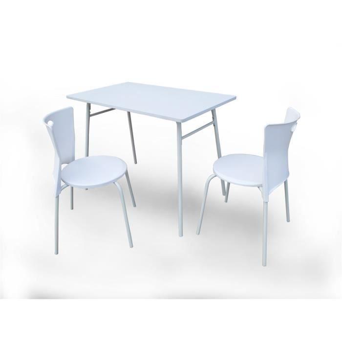 Ensemble table 2 chaises supper blanc achat vente for Table et 2 chaises