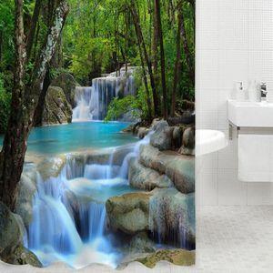 RIDEAU DE DOUCHE Cascades 3D Nature Paysage Douche Eau Rideau Polye