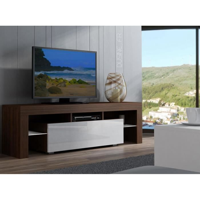 Meuble tv spider blanc laqu et noyer mat 160 cm achat vente meuble tv me - Meuble tv blanc laque 160 cm ...