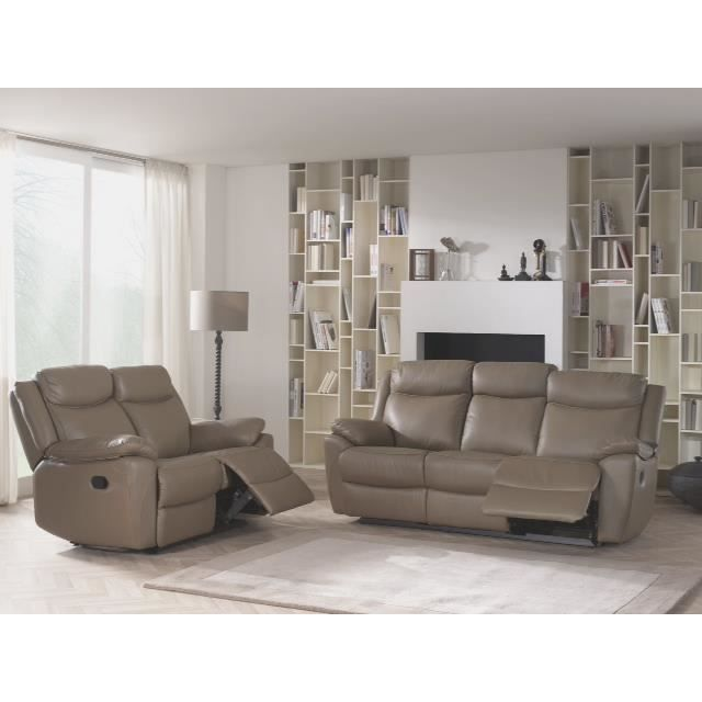 Ensemble canap de relaxation manuel en cuir taupe napoleon salon de relaxati - Salon canape cuir complet ...