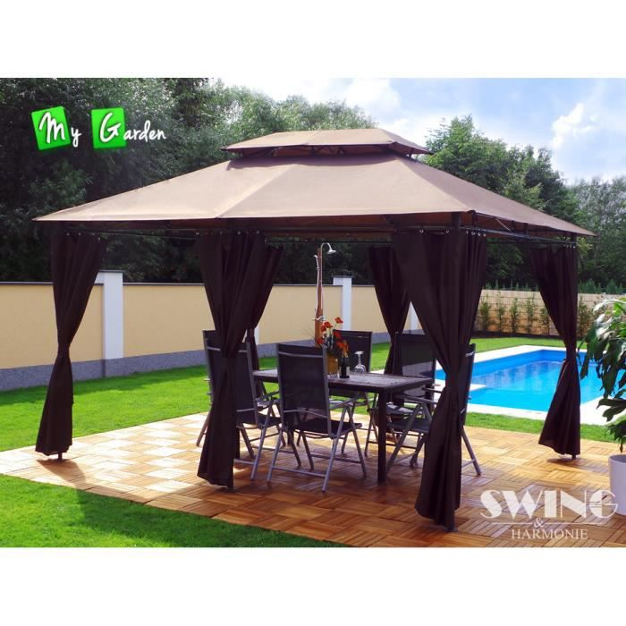 tonnelle 4x3 pavillon de jardin minzo marron achat vente tonnelle barnum tonnelle 4x3. Black Bedroom Furniture Sets. Home Design Ideas