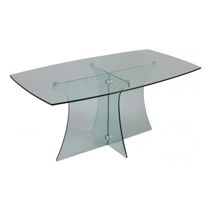 Table de s jour verre rectangulaire courb e l160 achat - Table sejour verre ...