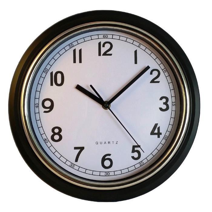horloge murale pendule murale silencieuse noire achat vente horloge cdiscount. Black Bedroom Furniture Sets. Home Design Ideas