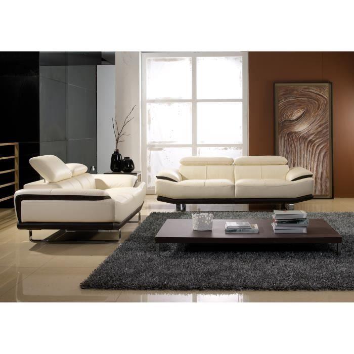 Salon bicolore cuir beige et noir osmoz achat vente for Salon beige et noir