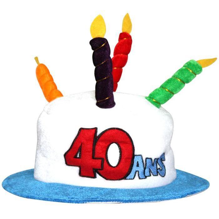 chapeau gateau anniversaire 40 ans achat vente chapeau perruque les soldes sur. Black Bedroom Furniture Sets. Home Design Ideas
