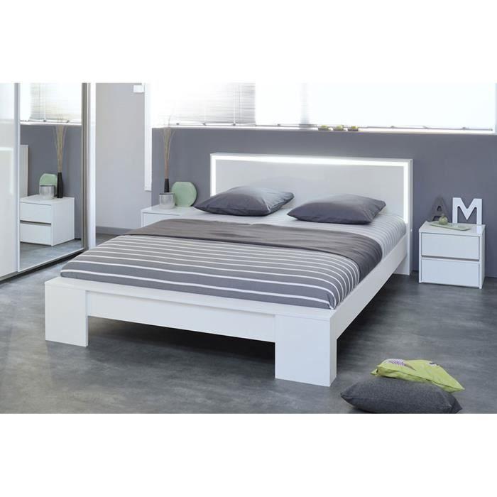 Lit design 140 cm blanc weston achat vente structure de lit lit design 14 - Lit 2 personnes cdiscount ...