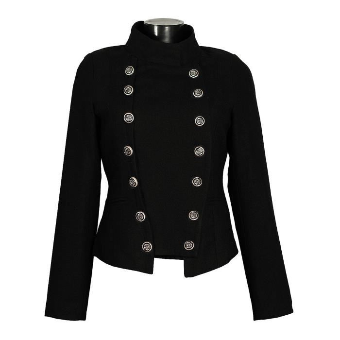 veste officier femme ve2033 laine noir noir achat vente veste veste officier femme ve2033. Black Bedroom Furniture Sets. Home Design Ideas