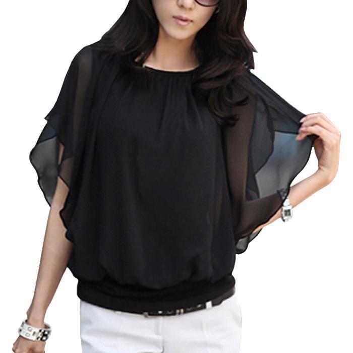 Femme t shirt mousseline manches chauve souris noir for Modele chauve souris