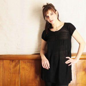 T-SHIRT T-shirt noir MYSTIC acrylique ma...