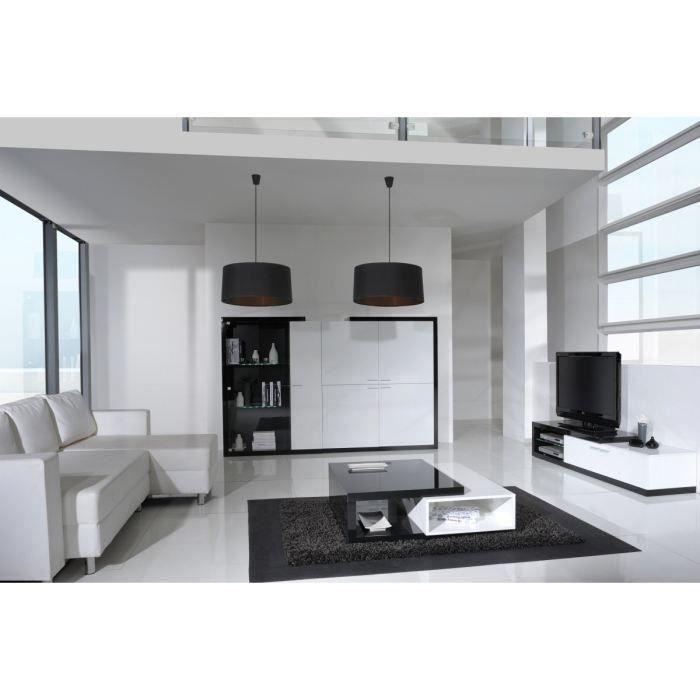 Lefty table basse laqu e 100 x 100cm noir et blanc achat for Table basse noir et blanc pas cher