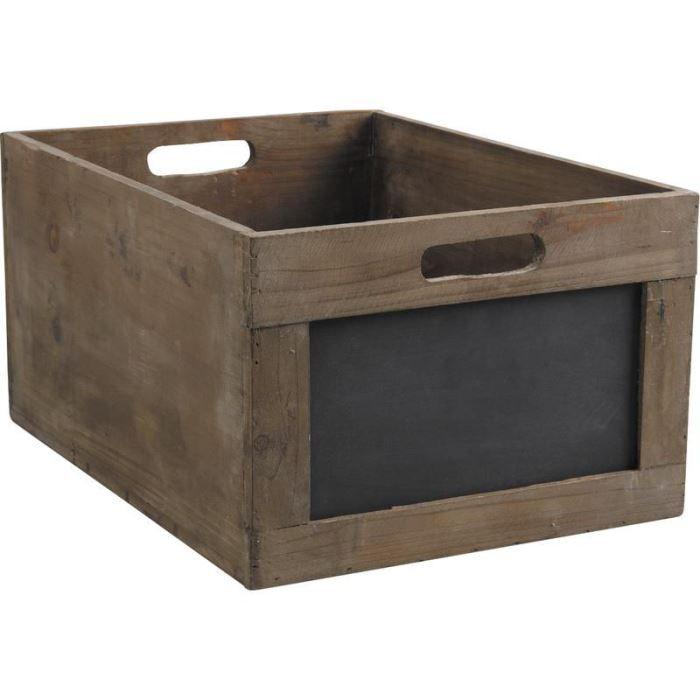 caisse de rangement en bois avec ardoise 35x23x achat. Black Bedroom Furniture Sets. Home Design Ideas