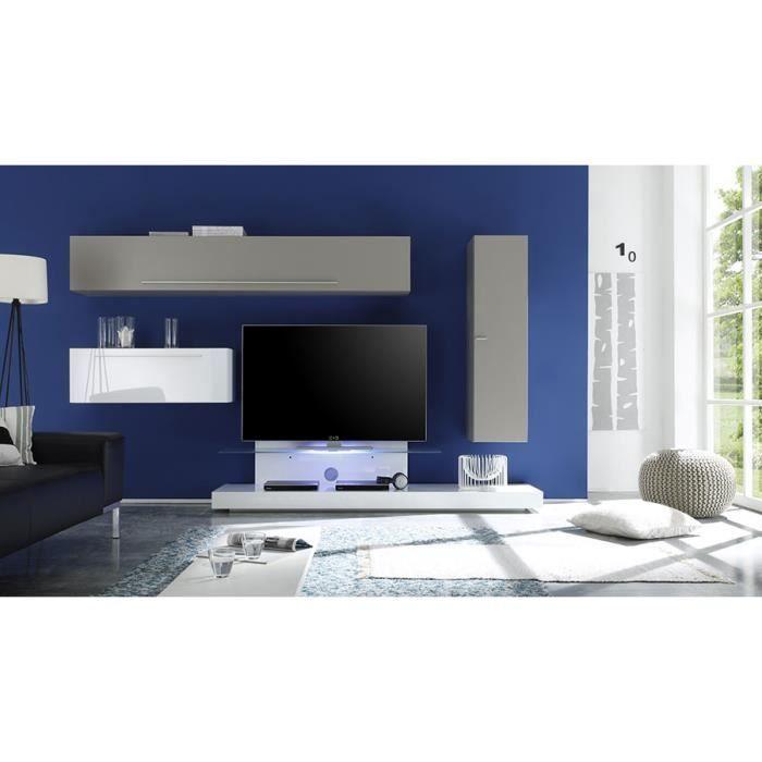 Ensemble meuble tv laqu blanc et taupe avec clairage led - Meuble tv laque taupe ...