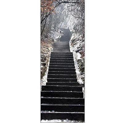 papier peint pour porte trompe l oeil escalier neige r f