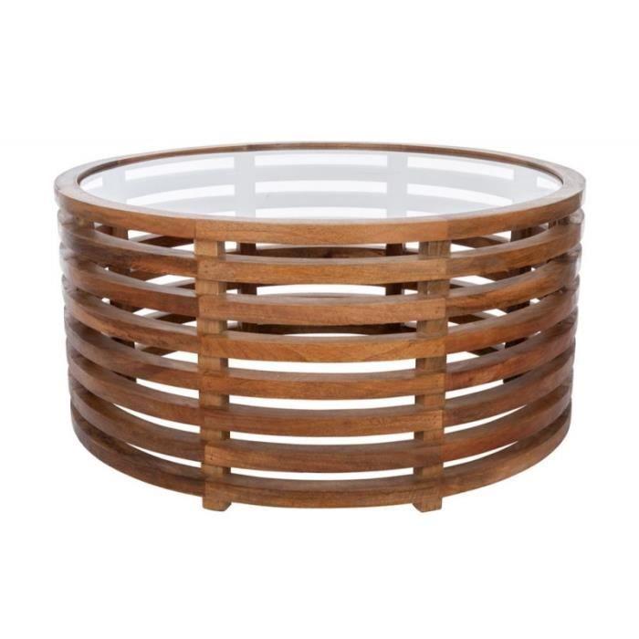 Table basse ronde exotique en bois brut et plateau en verre 92x92x44cm j line - Table basse en bois exotique ...