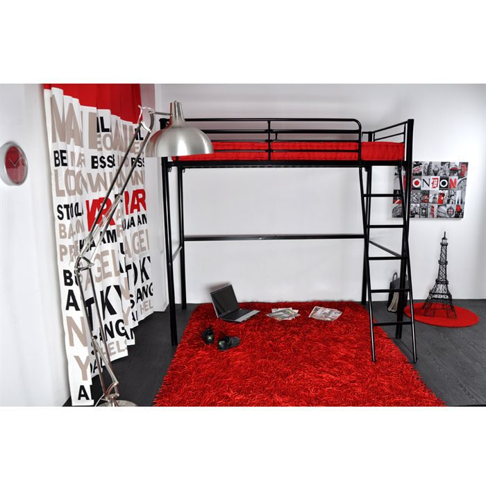 rocket lit mezzanine enfant 90x190 matelas rouge achat vente lit mezzanine rocket lit. Black Bedroom Furniture Sets. Home Design Ideas