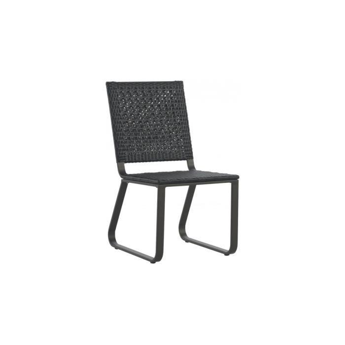 Chaise aluminium gris r sine tress e noyer achat vente for Fauteuil resine tressee gris