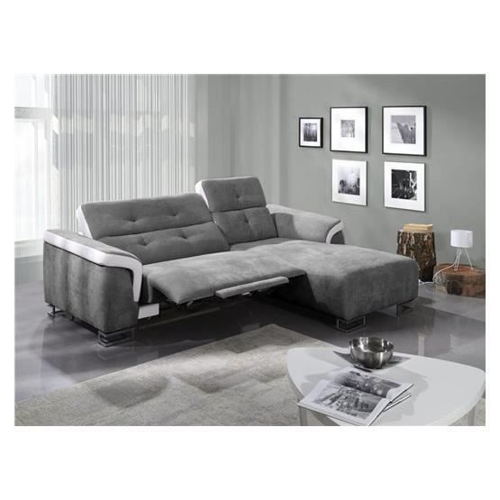 Canap relaxation angelo gris blanc droit achat vente canap sofa div - Cdiscount canape relax ...