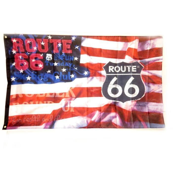 Drapeau route 66 rouge bleu 90x150 cm achat vente for Decoration murale route 66