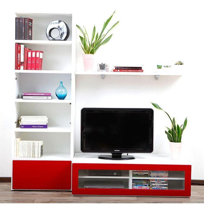 Ensemble mural tv design blanc et laqu rouge isis achat for Meuble a chaussures mural 2 abattants goccia blanc laque