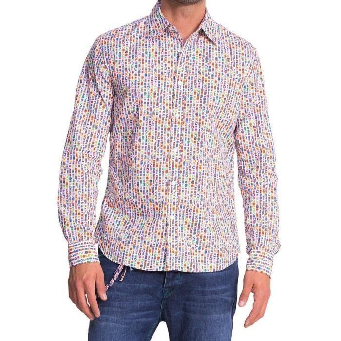 chemise desigual homme manches longues multi couleur achat vente chemise chemisette. Black Bedroom Furniture Sets. Home Design Ideas
