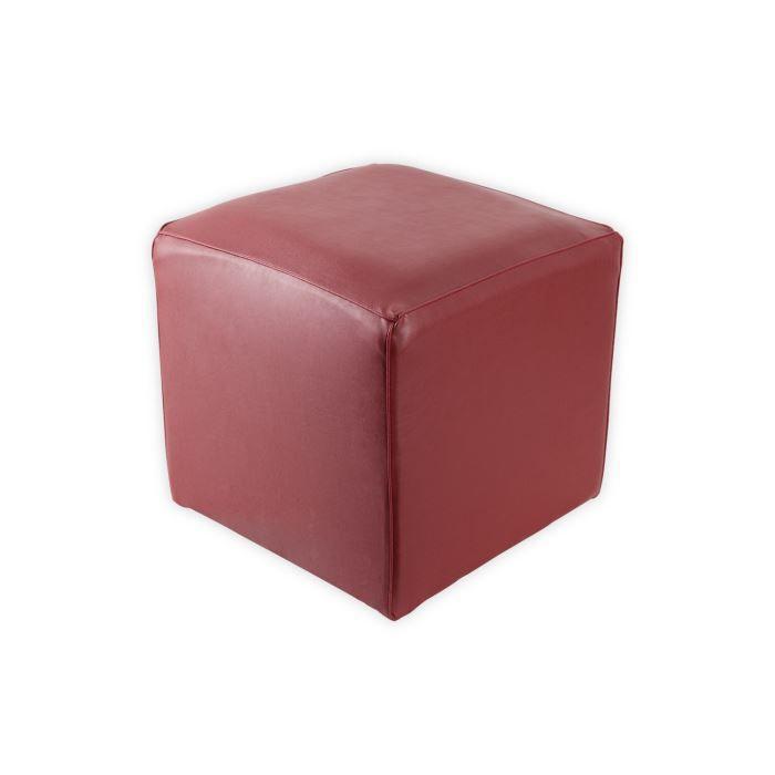 pouf 37x37x37 cm cube effet cuir rouge achat vente. Black Bedroom Furniture Sets. Home Design Ideas