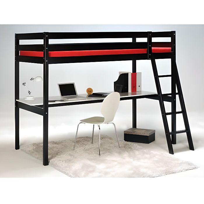 Lit mezzanine prado 90x190cm bureau int gr noir achat vente lit me - Lit mezzanine vente unique ...