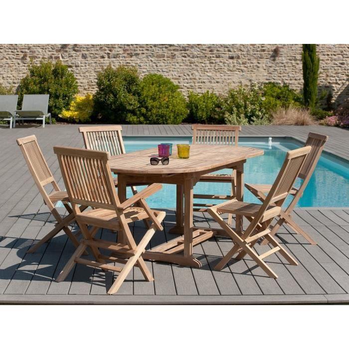 Java ensemble de jardin en teck avec table ovale extensible 2 fauteuils et 4 chaises achat Salon de jardin bois cdiscount