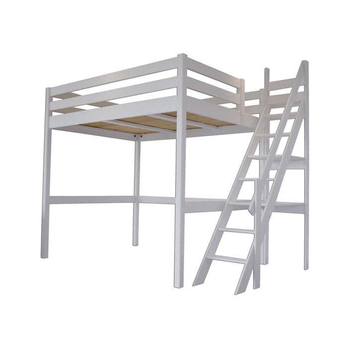 Lit mezzanine sylvia avec escalier de meunier bois achat vente lit mezzan - Lit mezzanine cdiscount ...