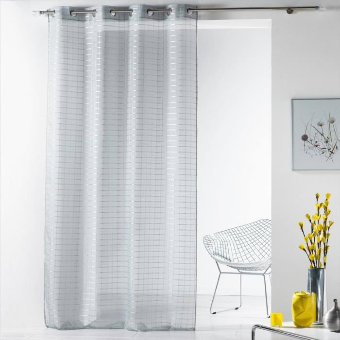panneau de rideau voilage 140x240cm quattro 100 polyester carreaux achat vente rideau. Black Bedroom Furniture Sets. Home Design Ideas