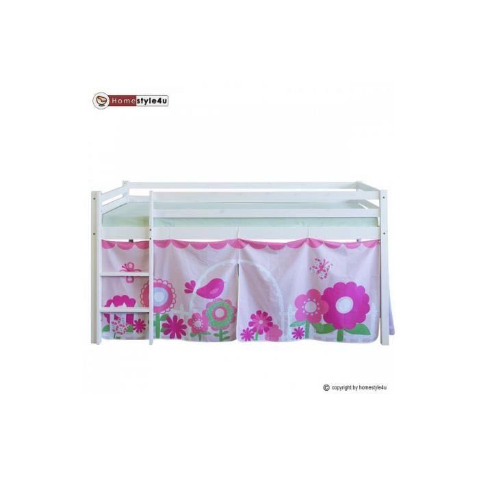 lit simple blanc 90x200 en hauteur avec echelle et rideau rose fleur achat vente lit complet. Black Bedroom Furniture Sets. Home Design Ideas