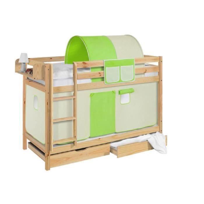 Lits superpos s jelle vert beige avec rideaux et deux sommier lattes li - Rideau pour lit superpose ...