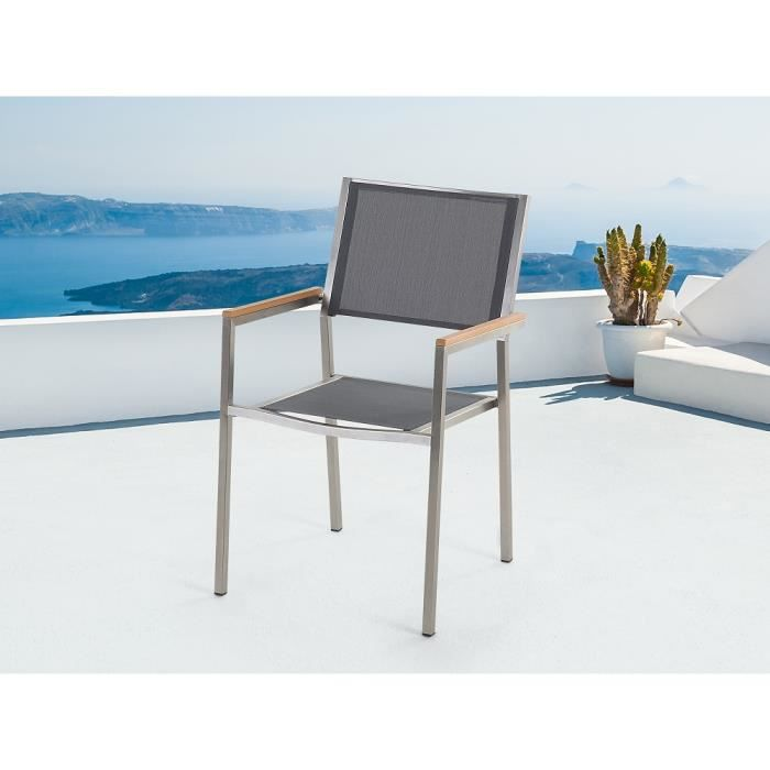 chaise de jardin acier inox et textile gris grosseto achat vente fauteuil jardin l On chaise de jardin inox