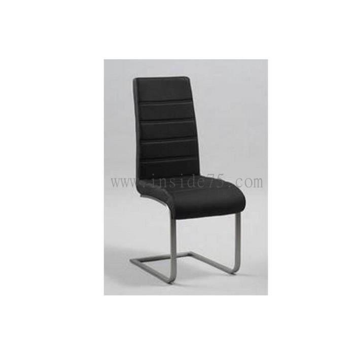 Chaise wind en cuir noir et acier achat vente chaise noir les soldes sur cdiscount for Chaise en acier poitiers