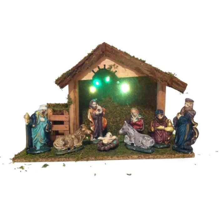 Cr che lumineuse ses 8 santons eclairage led achat vente cr che de no - Creche de noel lumineuse ...
