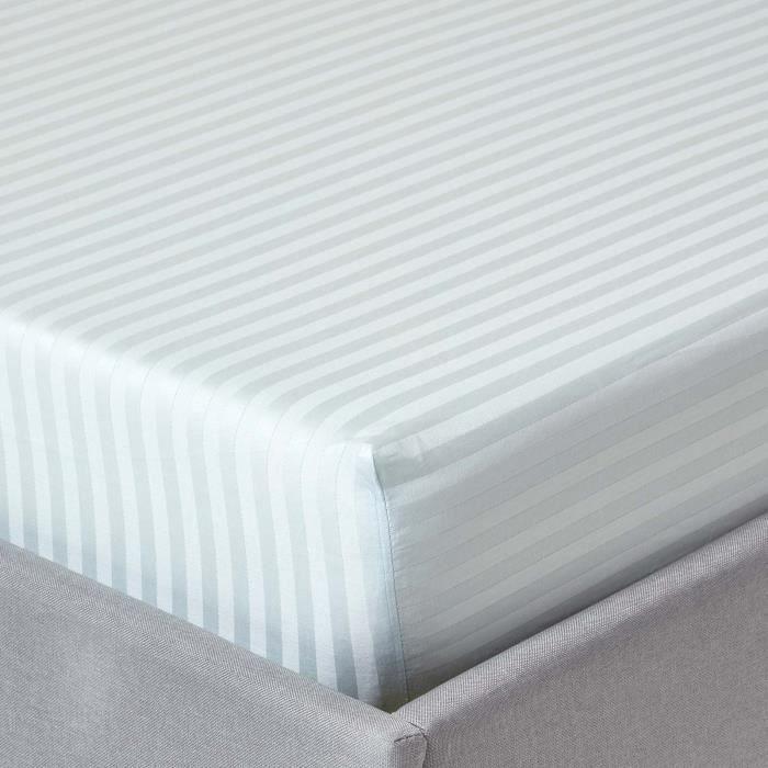 drap housse ray 150 x 200 cm 100 coton gyptien 330 fils coloris bleu achat vente drap. Black Bedroom Furniture Sets. Home Design Ideas