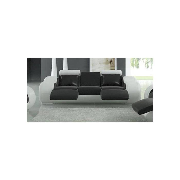 canap cuir 3 places fresno assise noire c t b achat. Black Bedroom Furniture Sets. Home Design Ideas