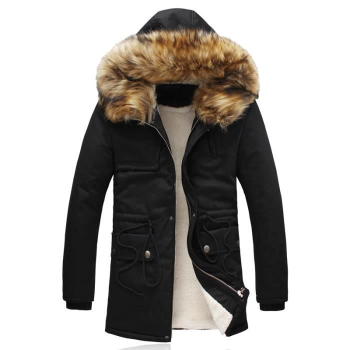 homme solide parka de couleur chapeau amovible mince manteau chaud grande taille noir achat. Black Bedroom Furniture Sets. Home Design Ideas