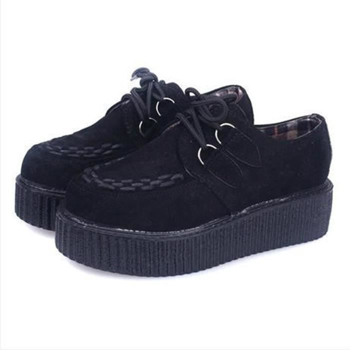 femmes plateforme creepers chaussure plate sneakers casual noir noir achat vente mocassin. Black Bedroom Furniture Sets. Home Design Ideas