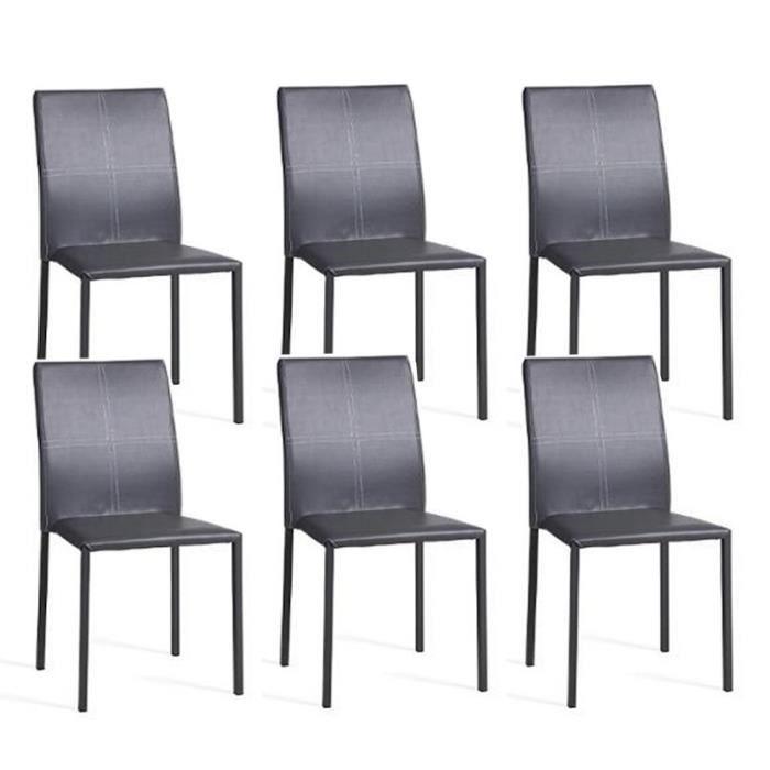 Lot de 6 chaises elvio gris paris prix achat vente - Lot de 6 chaises grises ...