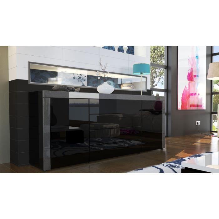 buffet enfilade noir au contour noir m tallique achat. Black Bedroom Furniture Sets. Home Design Ideas