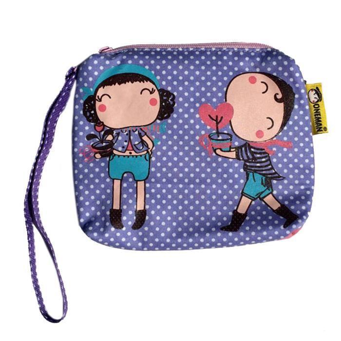 sac pochette fille en coton violet pois handy bag coeur achat vente pochette 3663562292923. Black Bedroom Furniture Sets. Home Design Ideas