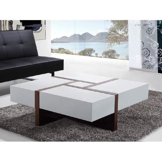 table basse table de salon 100x100 cm blanc evora achat vente table basse table. Black Bedroom Furniture Sets. Home Design Ideas