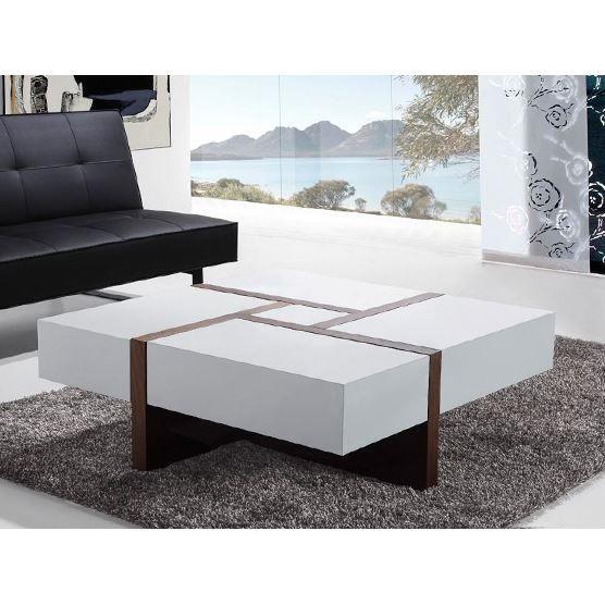 table basse table de salon 100x100 cm blanc evora. Black Bedroom Furniture Sets. Home Design Ideas