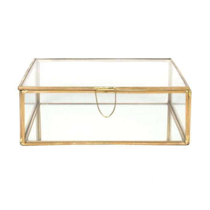 coffret carre en laiton large comingb or achat vente boite de rangement cdiscount. Black Bedroom Furniture Sets. Home Design Ideas