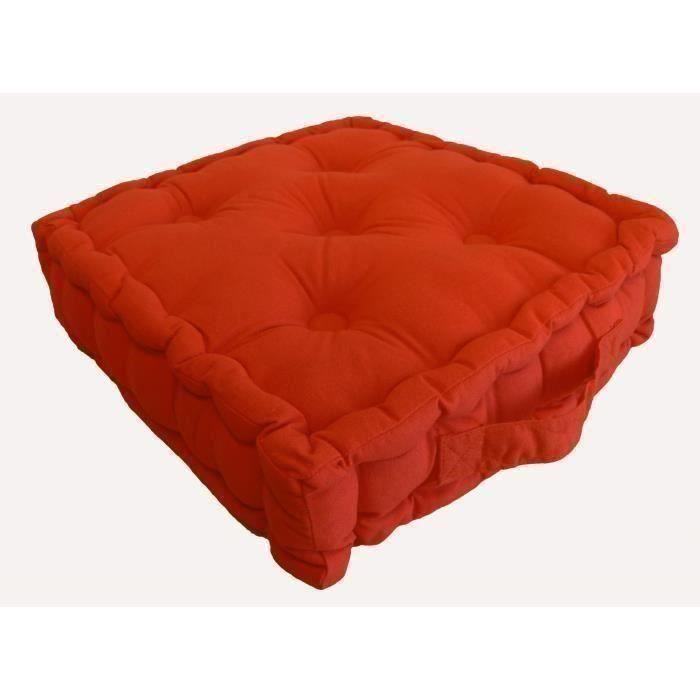 coussin de sol coton 40x40x9cm terracotta achat vente. Black Bedroom Furniture Sets. Home Design Ideas