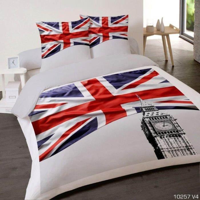 Housse de couette british flag 200x200 cm avec 2 taies - Housse de couette drapeau anglais 200x200 ...