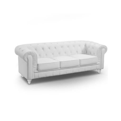 Canap chesterfield 3 places blanc luxe achat vente canap sofa divan - Canape chesterfield blanc ...