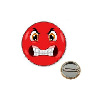 BADGES - PIN'S Badge smil colère rouge (Rouge - Badge 25mm)