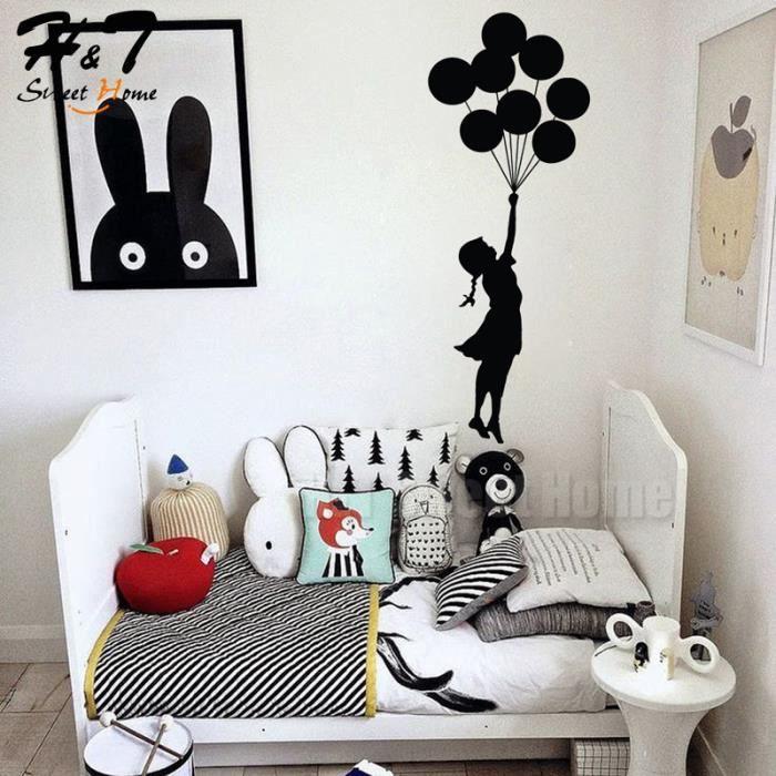 petite fille ballons vinyle autocollant murale d coratif papier peint enfants b b chambre. Black Bedroom Furniture Sets. Home Design Ideas